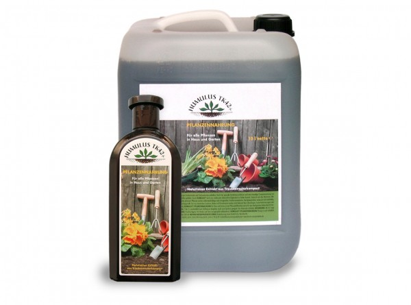 Humus Trester Pflanzennahrung vegan, flüssig, Kombi-Set 10l-Kanister + 0,5 l